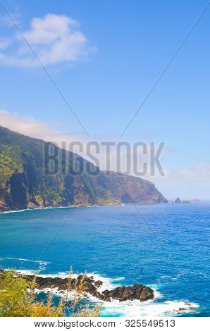 Amazing Northern Coast Of Madeira Island, Portugal Photographed By Village Seixal. Beautiful Steep C