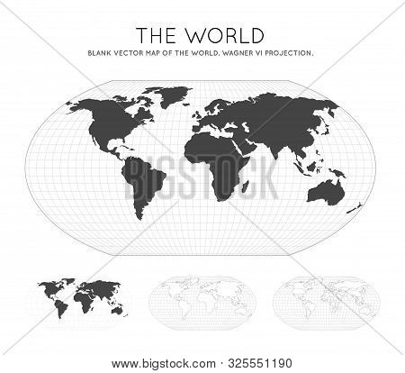 Map of The World. Stereographic. Globe with latitude and longitude lines. World map on meridians and parallels background. Vector illustration. poster