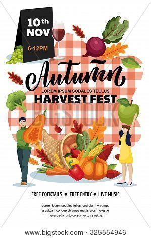 Autumn Harvest Festival Poster, Banner Design Layout. Fall Fair Or City Picnic Concept. Vector Flat