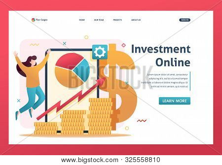 poster of Online investment management, investors invest in stocks and online assets. Flat 2D character. Landing page concepts and web design.