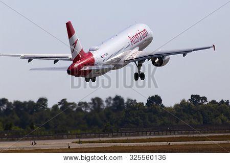 Borispol, Ukraine - September 10, 2019: Oe-lbj Austrian Airlines Airbus A320-214 Aircraft Departing