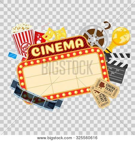 Cinema And Movie Time Concept With Flat Icons Transparent Film, Popcorn, Signboard, Masks, Award And