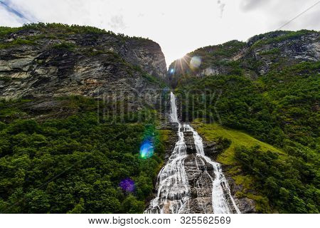 The Suitor, A Waterfall In Geiranger Fjord, Norway, Opposite To The Seven Sisters Waterfall.
