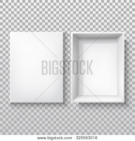 White Box With Open Cap, Top View, Vector 3d Realistic Isolated Mockup Template. White Cardboard Or