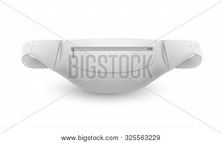 White Waist Bag, Belt Pouch Or Fanny Pack, Vector 3d Realistic Mockup Template. Modern White Banana