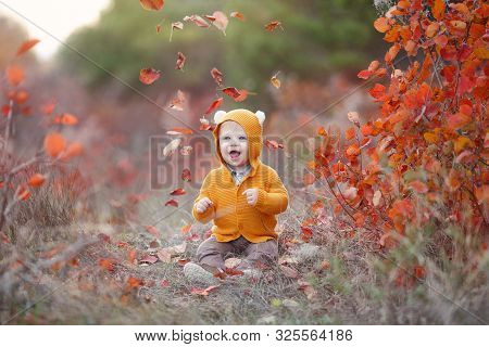 Adorable Kid Having Fun On Beautiful Autumn Day. Happy Child Playing In Autumn Park. Kid Gathering Y