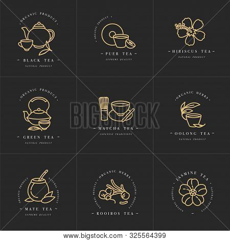 Vector Set Design Golden Templates Logo And Emblems - Organic Herbs And Teas . Different Teas Icon.