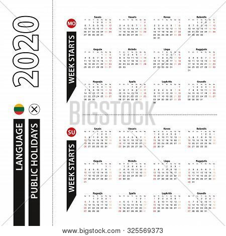 Two Versions Of 2020 Calendar In Lithuanian, Week Starts From Monday And Week Starts From Sunday. Ve