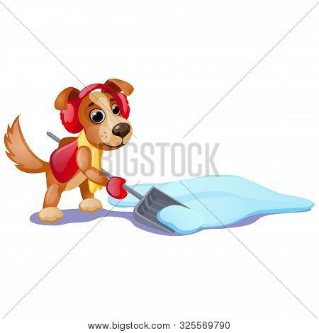 Cute Animated Dog With Yellow Scarf Digging A Snow With Shovel Isolated On White Background. Sample