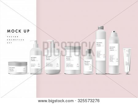 Realistic White Cosmetic Cream Container And Tube For Cream, Ointment, Toothpaste, Lotion Mock Up Bo