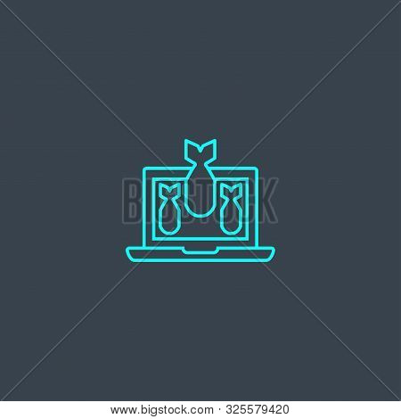 DDOS concept blue line icon. Simple thin element on dark background. DDOS concept outline symbol design. Can be used for web and mobile poster