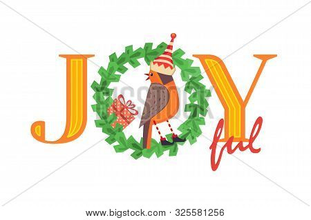 Christmas Holiday Vector. Cute Winter Bird In Elf Hat Xmas Tree Wreath Sign. Fancy Christmas Quote W