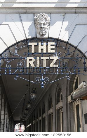 LONDON, UK - APRIL 30: Details of the Ritz hotel entrance. April 30, 2012 in London. The luxury hotel dates back from 1905.