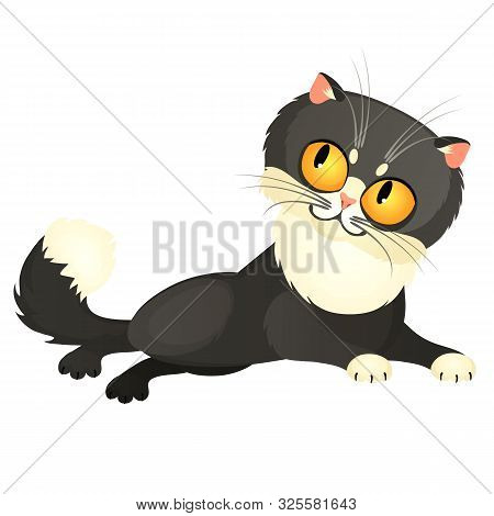 Tricky Animated Gray Cat With Yellow Eyes Isolated On A White Background. Vector Cartoon Close-up Il