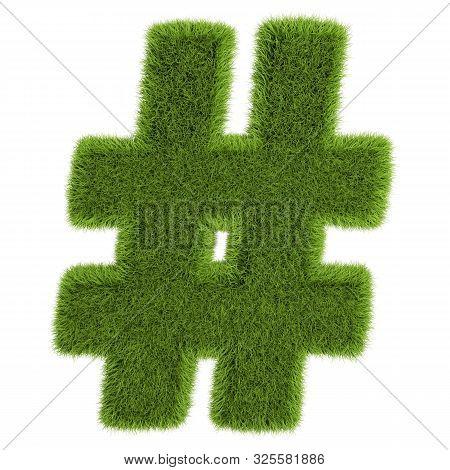 Grass Letter Hashtag On White Background - 3d Illustration.