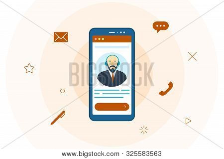 Customer Support Help Operator Male Avatar On Smartphone Screen. Online Technical Mobile Consultant