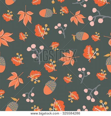 Scattered Autumn Leaves Berries Acorn Seamless Vector Background. Abstract Fall Pattern Red Orange G