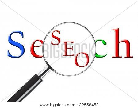 Magnifying glass over the word Search revealing SEO or Search Engine Optimization