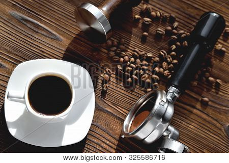 White Coffee Cup, Morning Side Light Barista Accessories, Tempera And Coffee Horn, Coffee Beans, Nat