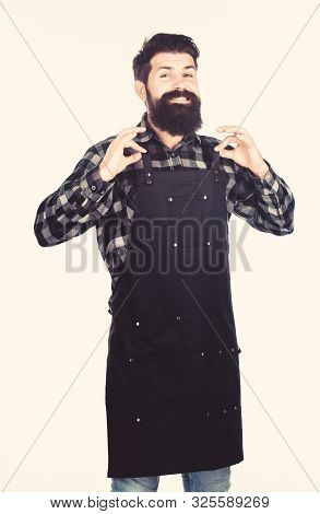 Everything Is Ok. Grill Cook Or Barber Expressing Ok To Meal Or Hairstyle. Happy Hipster Smiling And