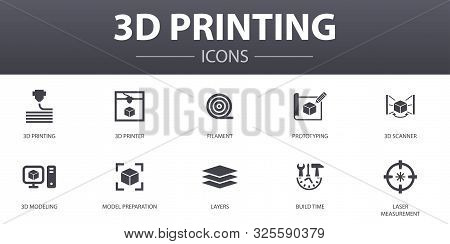 3d Printing Simple Concept Icons Set. Contains Such Icons As 3d Printer, Filament, Prototyping, Mode