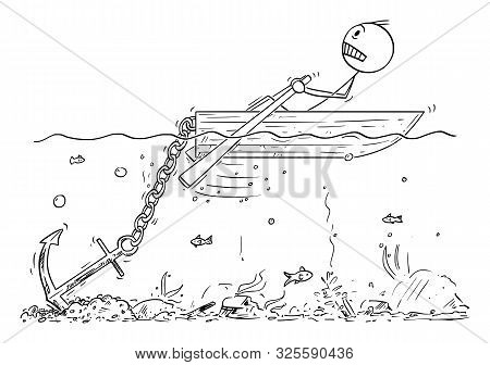 Vector Cartoon Stick Figure Drawing Conceptual Illustration Of Man Or Businessman Rowing Hard On Sma