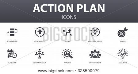 Action Plan Simple Concept Icons Set. Contains Such Icons As Improvement, Strategy, Implementation,