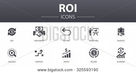 Roi Simple Concept Icons Set. Contains Such Icons As Investment, Return, Marketing, Analysis And Mor
