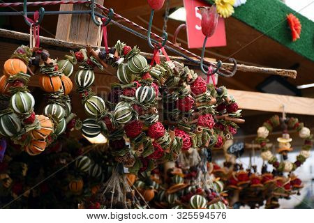 Decorations Made From Dried Fruits, Dry Flowers On An Advent Street Market