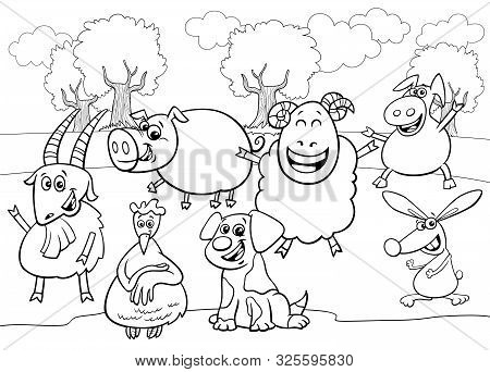 Black And White Cartoon Illustration Of Cute Farm Animals Comic Characters Group Coloring Book Page