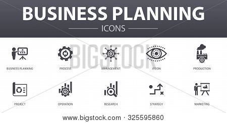 Business Planning Simple Concept Icons Set. Contains Such Icons As Management, Project, Research, St
