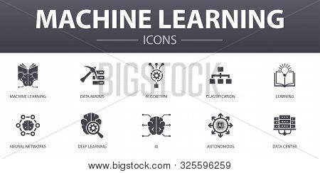 Machine Learning Simple Concept Icons Set. Contains Such Icons As Data Mining, Algorithm, Classifica