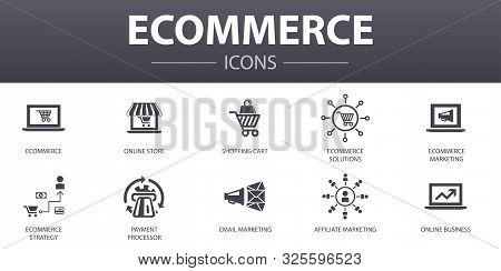 Ecommerce Simple Concept Icons Set. Contains Such Icons As Online Store, Shopping Cart, Payment Proc