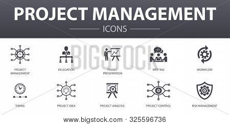 Project Management Simple Concept Icons Set. Contains Such Icons As Project Presentation, Meeting, W
