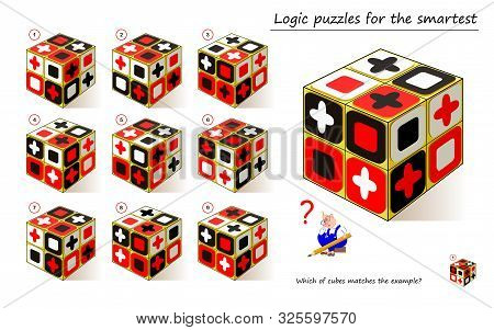Logical Puzzle Game For Children And Adults. Which Of Cubes Matches The Example? Printable Page For