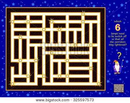Logical Puzzle Game For Children. Which 6 Lamps Need To Be Switch Off So All The Corridors Stay Ligh