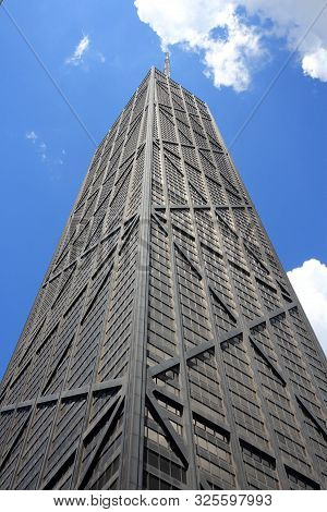 Chicago, Usa - June 28, 2013: John Hancock Center In Chicago. It Is 344m Tall And Was Finished In 19