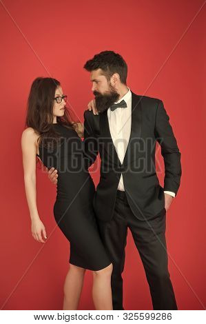 poster of Formal party. Couple in love on date. art experts of bearded man and woman. esthete. Romantic relationship. Formal sexy couple. formal fashion for couple. romantic couple in formal tuxedo and dress.