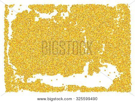 Backdrop Crumble Sheet Golden Texture. Gold Dust Scattering On A White Background. Abstraction Piece