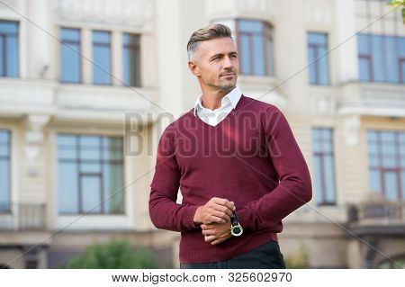 Status And Reputation. Man Mature Well Groomed Handsome Model With Wrist Watch. Expensive Luxury Acc