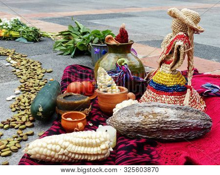 Cuenca, Ecuador - September 21, 2019:  Fragment Of Chacana Or Ceremony In Homage To Pachamama (mothe