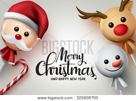 Merry Christmas Lollipops Vector Background. Merry Christmas Greeting Text With Sweet Candy Cane And