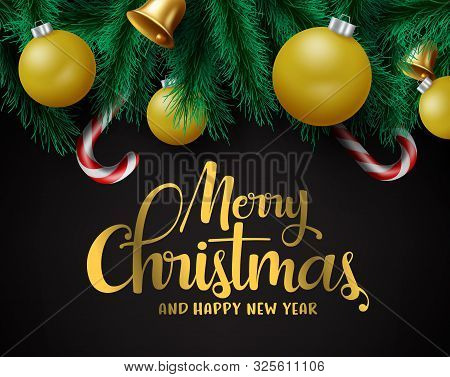 Christmas Decors Vector Background Template. Merry Christmas Greeting In Black Empty Space For Text