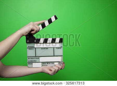 Green Screen Film Director Clapper Green Background