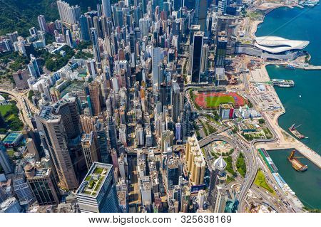 Hong Kong island, Hong Kong 06 September 2019: Aerial view of the Hong Kong island side