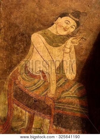 Pu Man And Ya Man Mural Wall Painting At Phumin Temple, Nan Province, Thailand