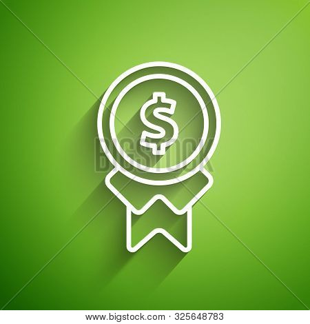 White Line Reward For Good Work Icon Isolated On Green Background. Employee Of The Month, Talent Awa