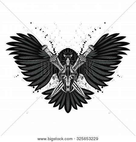 Vector Illustration Eagle, Two Swords And A Fabulous Skull With Fangs In A Greek Helmet. God Of War