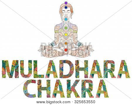 Muladhara Chakra. Vector Zentangle Object For Decoration