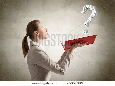 Attractive Woman Holding Open Notebook With Question Mark. Business Consultation And Legal Assistanc